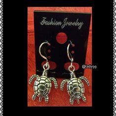 Turtle earrings / drop  / hook Adorable turtle earrings in Silverton ****more available Jewelry Earrings