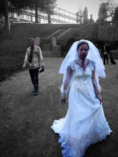 one of the more cooler zombie wedding photos