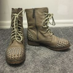 Grey Studded Combat Boots I bought these on an online shoe site for final sale and they were the wrong size. Never worn. Breckelles Shoes Combat & Moto Boots