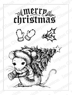 Impression Obsession Rubber Stamps Clear Stamp Set - Christmas Tree Mouse