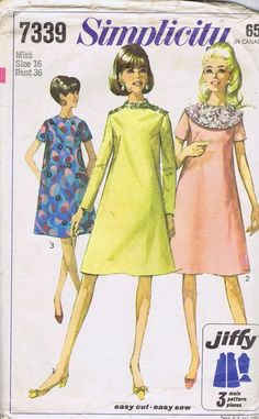 "VINTAGE SEWING PATTERN One PC Dress 7339 SIMPLICITY SIZE 16 BUST 36 HIP 38"" CUT"