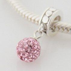 Baby Pink - Swarovski Crystal Ball - Sterling Silver Dangle Charm Bead - fits Pandora, Chamilia etc style Bracelets - SpangleBead