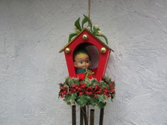 Pixie Wind Chimes. Vintage Christmas Decoration. Elf with a Harp and Chimes. by VeiledThroughTime on Etsy