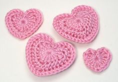 crocheted hearts, useful for baby/little girl's hair accessories, card making and more                     bet my mom could make these for me