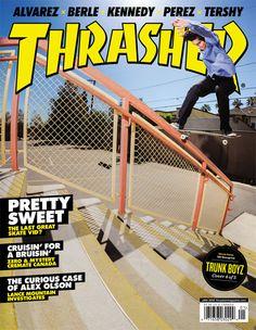'Thrasher magazine cover' A skateboard magazine that advertises products and events.  (Thrashermagazine, Conlen. B, 2012)