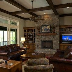 Most accurate idea of what we'd like - stone fireplace with built ins on either side, cabinets would be one shelf shorter and more attractive mantle with craftsman detailing