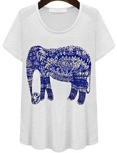White Short Sleeve Elephant Print Loose T-Shirt US$18.02 #ladies