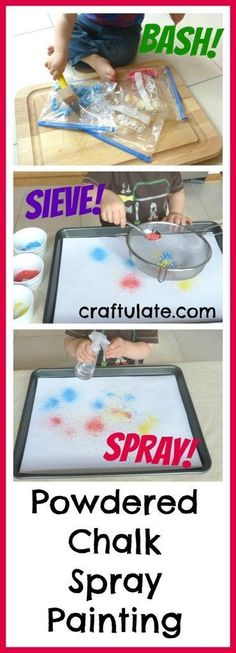 Powdered Chalk Spray Painting for fine motor fun!