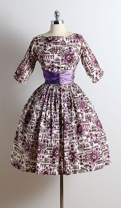 ➳ vintage 1950s dress  * cream acetate * purple floral & deer print * two toned purple satin waist * button accents * metal back zipper