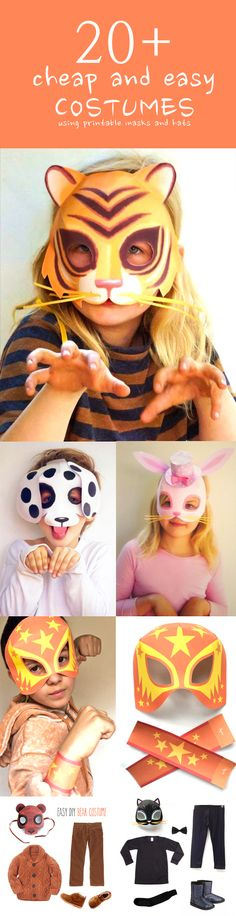 DIY easy costumes using printable mask templates. Perfect last minute costumes.