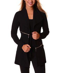 Another great find on #zulily! Black Zip-Accent Jacket #zulilyfinds