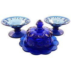 Depression Glass Cobalt Pedestal Bowls & Covered Dish ($83) ❤ liked on Polyvore featuring home, kitchen & dining, serveware, serving platters, depression glass bowl, pedestal bowl and cobalt blue bowl