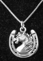 """EQUESTRIAN JEWELRY This sterling silver Horseshoe necklace makes for a great Christmas gift or birthday present. Cowgirl quotes: """"I'm not a redneck, I'm a southern girl with attitude."""" Another Cowgirl quote """"Sometimes a cowgirl has to do what a cowboy can't"""". http://www.silveranimals.com/horseshoe_necklace.htm #sterlingsilverhorseshoenecklace #christmasgift #birthdaypresent"""