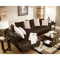Amalfi affinity 7 piece motion living room group in dark for Bella chaise dark brown