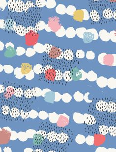 """Allover .Free thoughts...Free sky. Printdesign 'Ditt & Datt"""" for Amifa co Japan."""