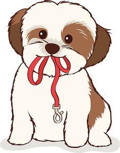 Perro Shih Tzu, Shih Tzu Hund, Shih Tzu Puppy, Shitzu Puppies, Disney Drawings, Cute Drawings, Chibi Dog, Puppy Drawing, Dog Wallpaper
