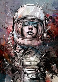 Amazing Illustration Works by talented British artist Russ Mills. He creates astonishing images using a wide variety of traditional methods including painting Art And Illustration, Illustrations, Astronaut Illustration, Art Pulp, Art Magique, Street Art, Sci Fi Art, Art Plastique, Oeuvre D'art