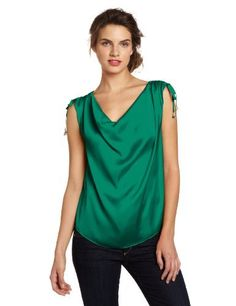 Vince Camuto Women's Satin Rouched Tie Shoulder Blouse