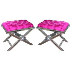 Pair of Custom X Band Mirrored Benches. love the tufted pink pillow tops #mirrored furniture #benches #x_bench