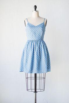 vintage inspired blue polka dot sundress