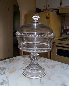 """Large Vintage 13"""" EAPG Lidded Compote Clear Glass Beaded Pattern"""