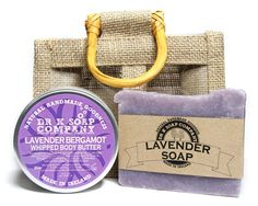 Lavender gift set - Natural Soap, Handmade Soap, Body Butter in gift bag - Vegan Cosmetic Labels, Soap Labels, Whipped Body Butter, Lavender Soap, Beard Care, Natural Cosmetics, Handmade Soaps, Soap Making, Body Care