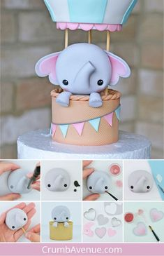 Elephant in a Hot Air Balloon - Cake Topper - PDF TUTORIAL with TEMPLATES - how to make an air balloon cake topper, cute elephant cake topper, baby shower cake, fondant elepha - Fondant Elephant, Elephant Cake Toppers, Elephant Cakes, Fondant Figures Tutorial, Cake Topper Tutorial, Fondant Cake Toppers, Fondant Cupcakes, Cupcake Toppers, Decors Pate A Sucre