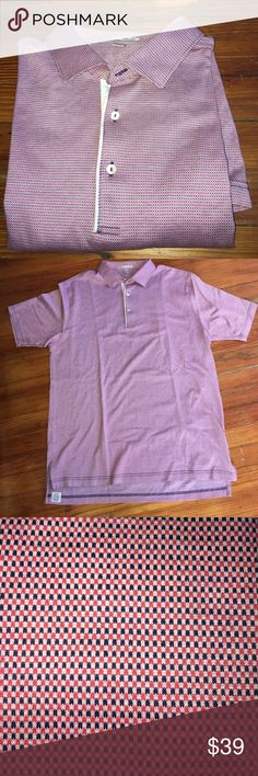 PETER MILLAR L SHORT SLEEVED POLO SHIRT SUBTLE BLUE PINKISH RED SOFT PATTERN SUBTLE COTTON MINT CONDITION PETER MILLAR Shirts Polos
