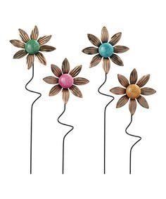 This Flower Garden Stake Set is perfect! #zulilyfinds