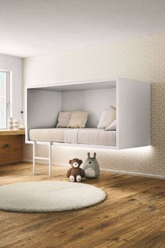 A floating bed design evokes a feeling of superiority by flowing above the floor emphasizing the feel of space allowing air to pass through the room easier. Decor Room, Bedroom Decor, Home Decor, Bedroom Ideas, Floating Bed, Deco Kids, Minimalist Bedroom, Minimalist Kids, Minimalist Apartment