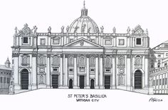 ST PETERS BASILICA - Pen and ink drawing by Frederic Kohli of the historic St Peter's Basilica in the Vatican City, Rome, Italy.