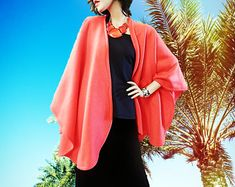 New Tangerine Color Ruana Wrap/Poncho/Women Cape/Shawl/Lightweight Jacket/Gift for Her/Oversized Kimono/Boho Kimono/Oversized Coat/Cardigan - Edit Listing - Etsy Boho Kimono, Kimono Top, Ruana Wrap, Tangerine Color, Capes For Women, Oversized Coat, Lightweight Jacket, Fall Outfits, Shawl