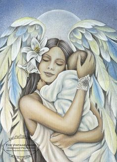 Comfort Angel by Vintage Angel Artist, Jessica Galbreth. Could look like an angel holding my miscarried baby in Heaven. Foto Fantasy, Fantasy Art, I Believe In Angels, Angel Pictures, Angels Among Us, Angels In Heaven, Heavenly Angels, Guardian Angels, Angel Art