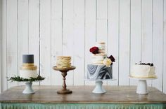 Desert station / table. Cakes. Marbled, Ruffled, Gold. Paul Bunyon Inspiration