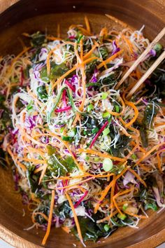 Vegan rice noodle salad with sesame dressing - Lazy Cat Kitchen