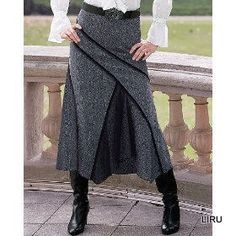 pants into skirt inspiration Sewing Clothes, Diy Clothes, Clothes For Women, Moda Chic, Creation Couture, Diy Fashion, Fashion Design, Refashion, Dressmaking
