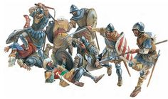 Wallachian soldiers from the Small Host at the Battle of Rovine. By Radu Oltean. From the book 'Mircea the Elder and the Battles with the Turks'.