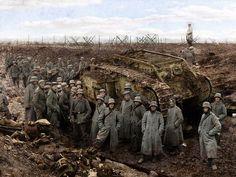 The Germans captured British tank. Western front, First world war.