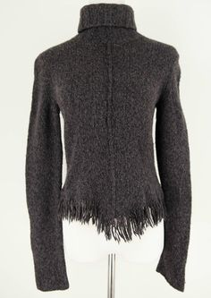 Banana Republic Dark Grey Turtleneck Sweater with Fringe Size M by Banana Republic | ClosetDash