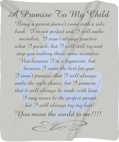 Items similar to Custom Personalized Plush Fleece Blanket - A Promise to My Child - Boy - Available two sizes - and - Other Themes Available on Etsy My Children Quotes, Quotes For Kids, Family Quotes, Life Quotes, Qoutes, My Son Quotes, Child Quotes, Son Sayings, Exist Quotes