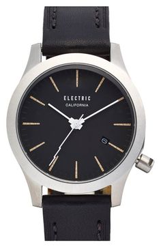 Electric Round Leather Strap Watch, 40mm