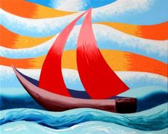 """Daily Paintworks - """"Mark Webster - Red Sailboat - Abstract Geometric Seascape Oil Painting"""" - Original Fine Art for Sale - © Mark Webster"""