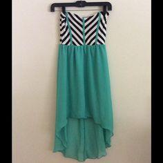 Chevron Teal high low dress Sz small Dresses High Low