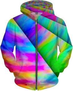 Limited Edition Infinite Rainbow Universe Custom Super Rave Party Street Deejay Style Zip Hoodie by Willy Badu.