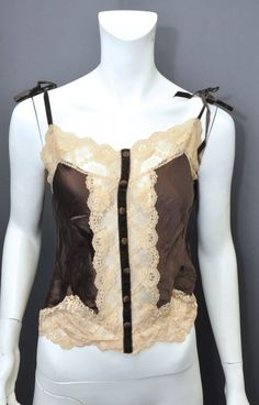 Women's  Anna Sui BrownTan Lace Scoop Neck Sleeveless Silk Sexy Top Size 6 #AnnaSui #KnitTop #EveningOccasion