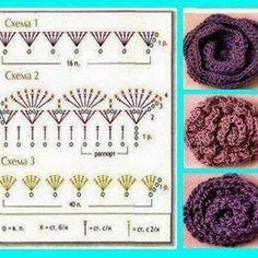 Many free crochet flowers patterns Crochet Puff Flower, Crochet Flower Patterns, Love Crochet, Irish Crochet, Crochet Flowers, Knit Crochet, Crochet Motifs, Crochet Diagram, Crochet Chart