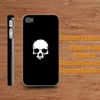 White Skull on Black iPhone 4 / 4S case iPhone 5 case Samsung Galaxy S2 case Samsung Galaxy S3 / S4 case