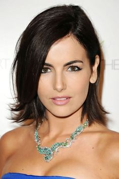 Camilla Belle's Chin-Length Crop Belle's bob is trimmed an inch or so under her chin; slightly layered ends keeps the cut flicky and flirty, not overly prim.