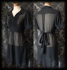 Goth Black Sheer Tiny Button MOROSE Peter Pan Tie Tea Dress 14 16 Victorian 40s - £36.00