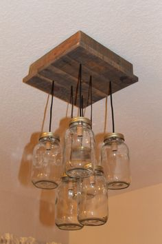 Mason Jar Chandelier  Reclaimed Wood  Pallet by PartyandHomeDesign, $150.00
